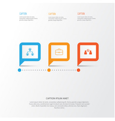 Human icons set collection of briefcase talking vector