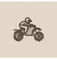Man riding motocross bike sketch icon vector image vector image