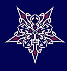 mandala geometry star blue-white-pink vector image