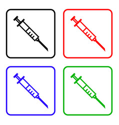 Medical syringe with vaccine - icon set vector