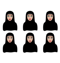 Muslim woman in black hijab vector
