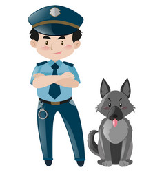 Policeman standing with police dog vector