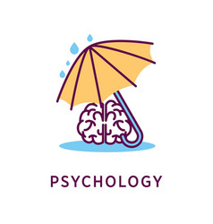 Psychology logo design with human brain under vector