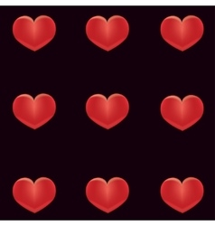 Red hearts on a black background vector image