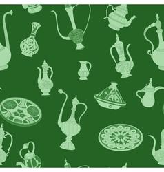 Seamless green pattern of arabic crockery vector