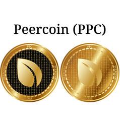 Set of physical golden coin peercoin ppc vector