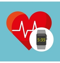 smart watch technology with heart pulse vector image vector image