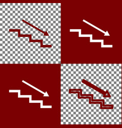 Stair down with arrow bordo and white vector