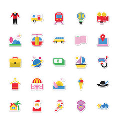 Summer and holidays icons 10 vector
