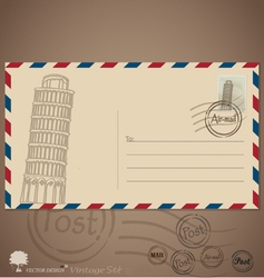 Vintage envelope designs with postage stamp vector
