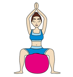 Woman with a pilates ball - doodle vector