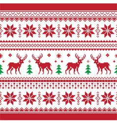 Christmas and Winter knitted seamless pattern car vector image