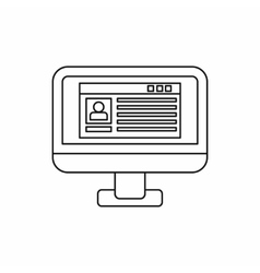Profile information on a computer monitor icon vector