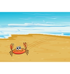 A crab crawling at the seashore vector