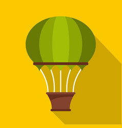 green hot air balloon icon flat style vector image