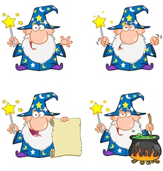 Wizard waving with magic wand collection vector