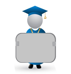 Graduate with announcement symbol vector image