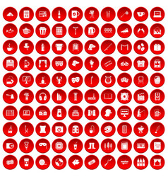 100 leisure icons set red vector