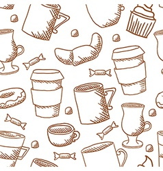 Seamless coffee cups and mugs pattern vector image