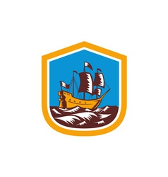 Sailing ship galleon crest retro woodcut vector