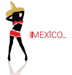 Girl with sombrero in red silhouette vector
