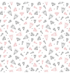 Hand drawn seamless pattern with cute diamonds vector