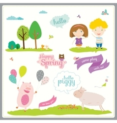 Summer or spring with funny animals vector