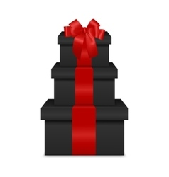 Stack of three realistic black gift boxes with red vector