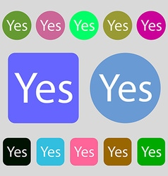 Yes sign icon positive check symbol 12 colored vector