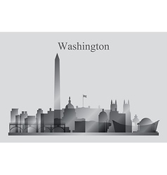 Washington city skyline silhouette in grayscale vector