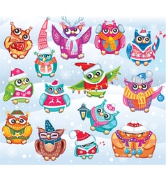 Set of cute christmas owls vector
