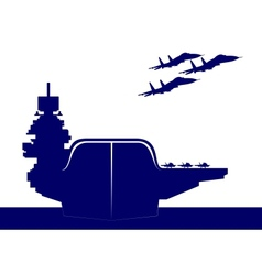 an aircraft carrier vector image