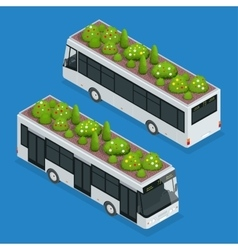 Green roofs on bus eco roof on bus flat 3d vector