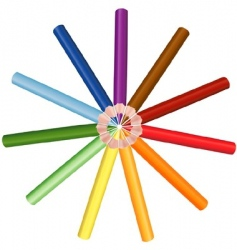 Crayons circle vector