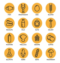 Allergen icons set vector image