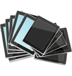 Black abstract tablet pc set on white background vector