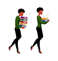 Black african businesswoman carrying document vector