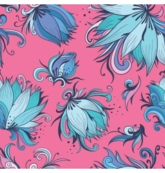 Blue and pink lotus pattern vector