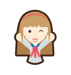 Cartoon japanese girl student uniform vector