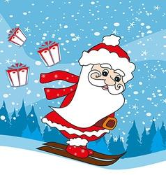 Christmas cartoon character skiing santa claus vector