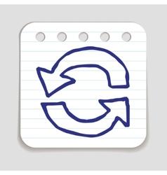 Doodle Recycle Arrows icon vector image