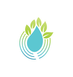 drop water leaf eco logo vector image