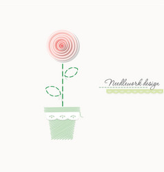 embroidery rose cute design for greeting cards vector image vector image