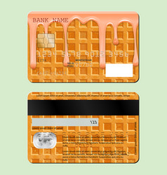 Example design credit card sweet waffle the vector