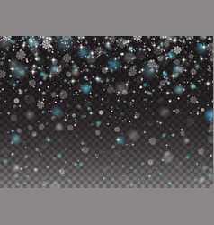 falling shining snowflakes christmas winter and vector image
