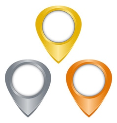 Gold silver bronze glossy blank tag on the map vector