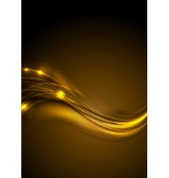 Golden smooth glowing luminous waves background vector