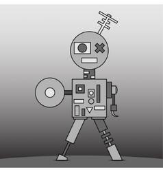 Gray cartoon robot vector