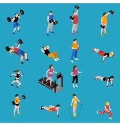 Gym isometric icons set vector