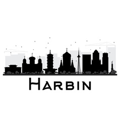 Harbin City skyline black and white silhouette vector image